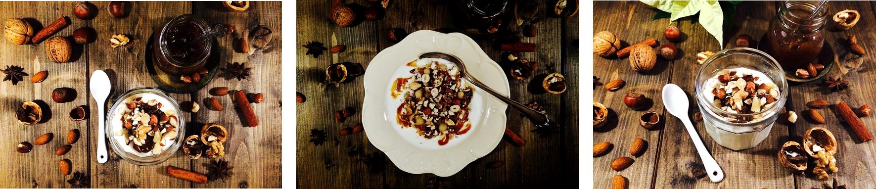 Yogurt, nuts and Christmas spiced apple chutney trio