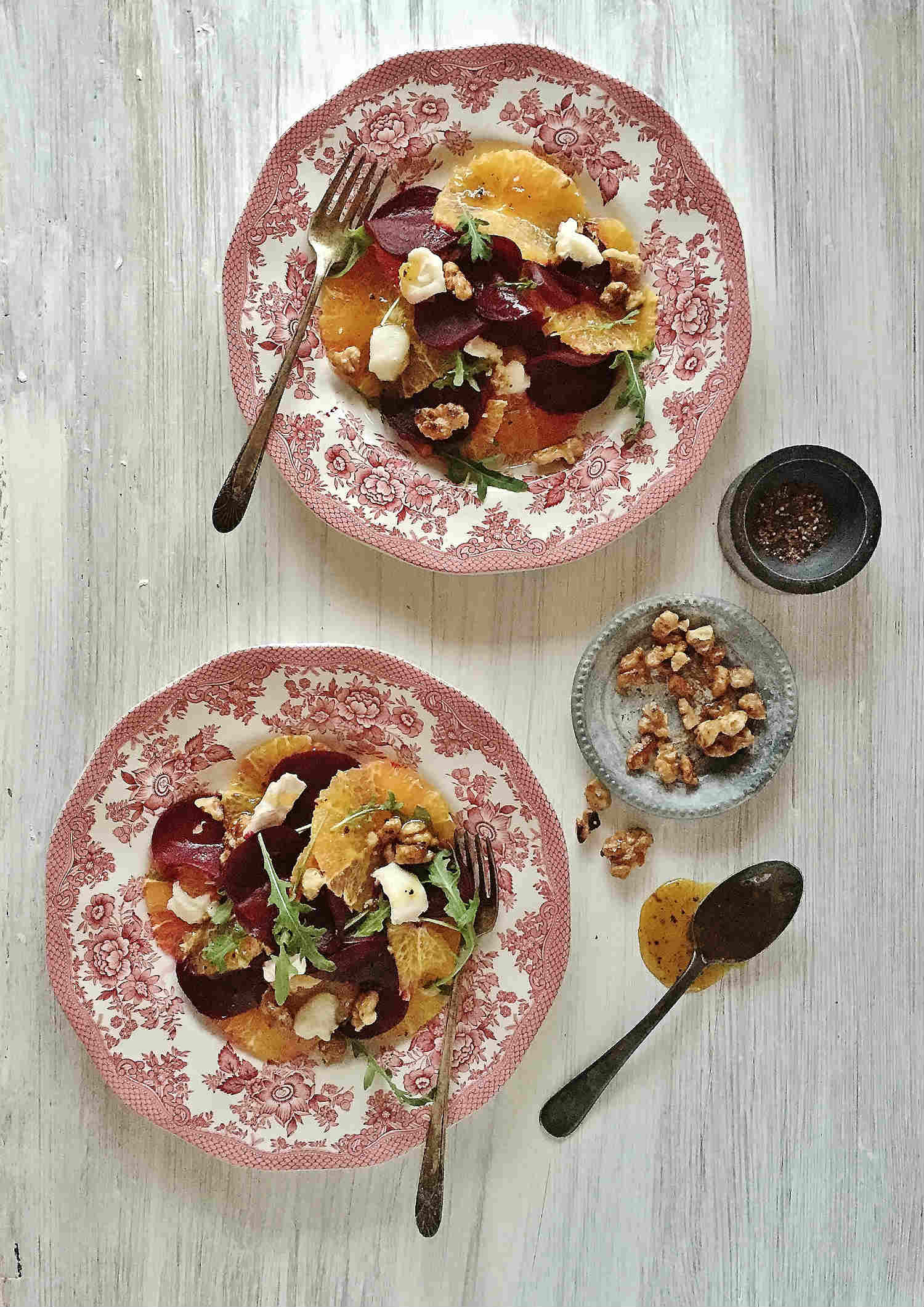 Honey-Citrus Redbeet & Orange Carpaccio with Goat Cheese