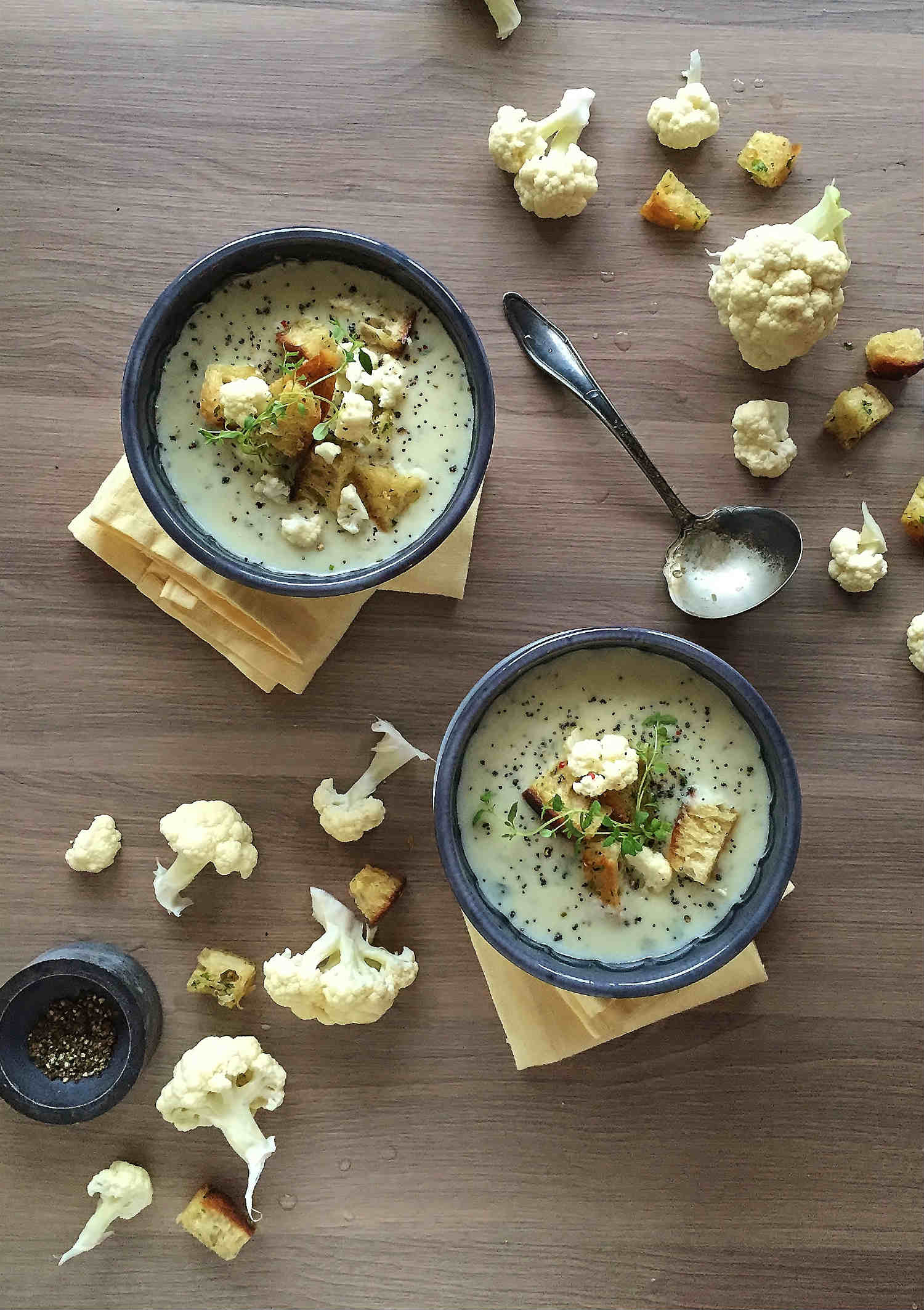 Poppy Cauliflower Soup & Herby Croutons