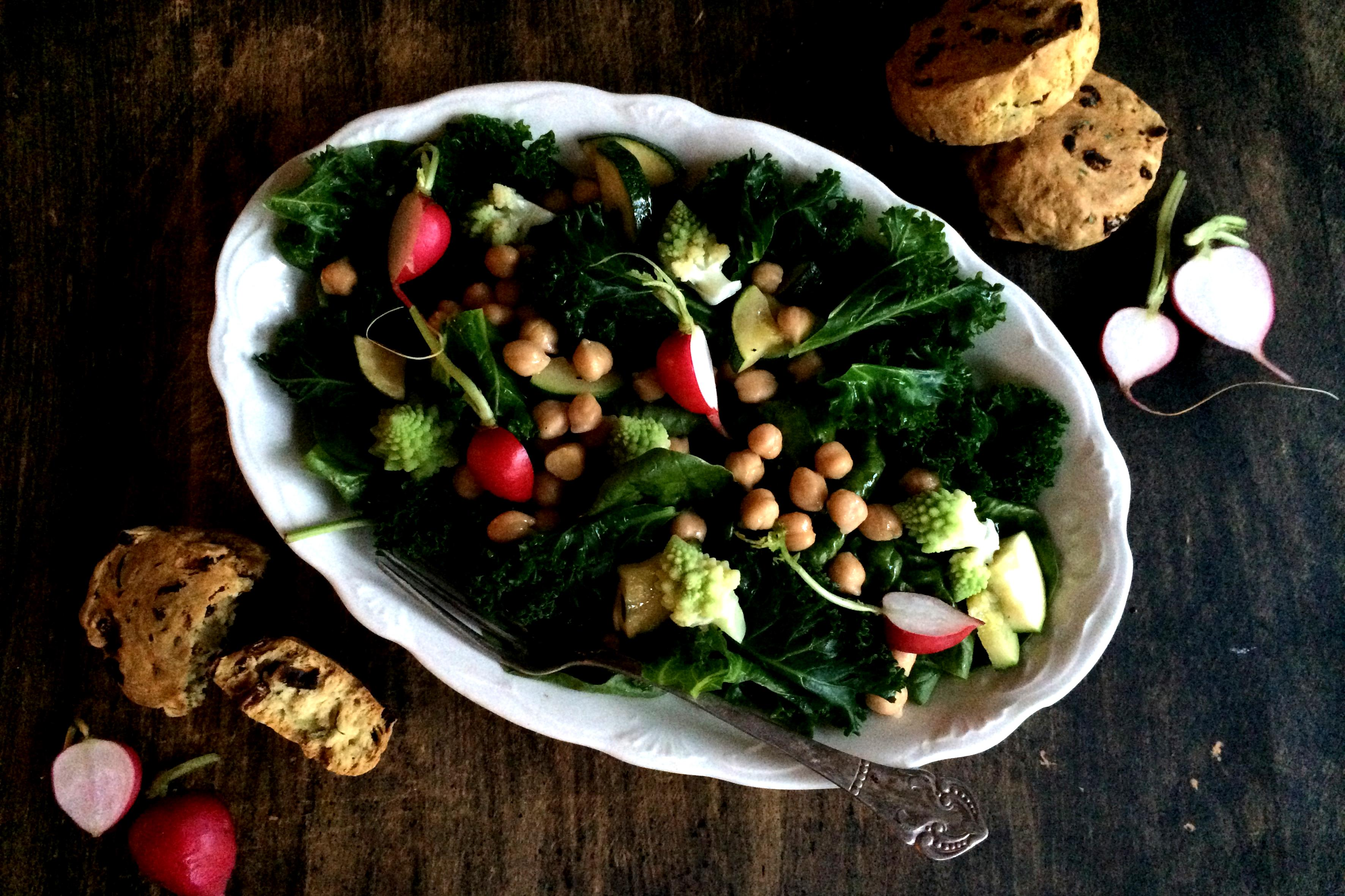 Green Winter Salad & Sunny Scones