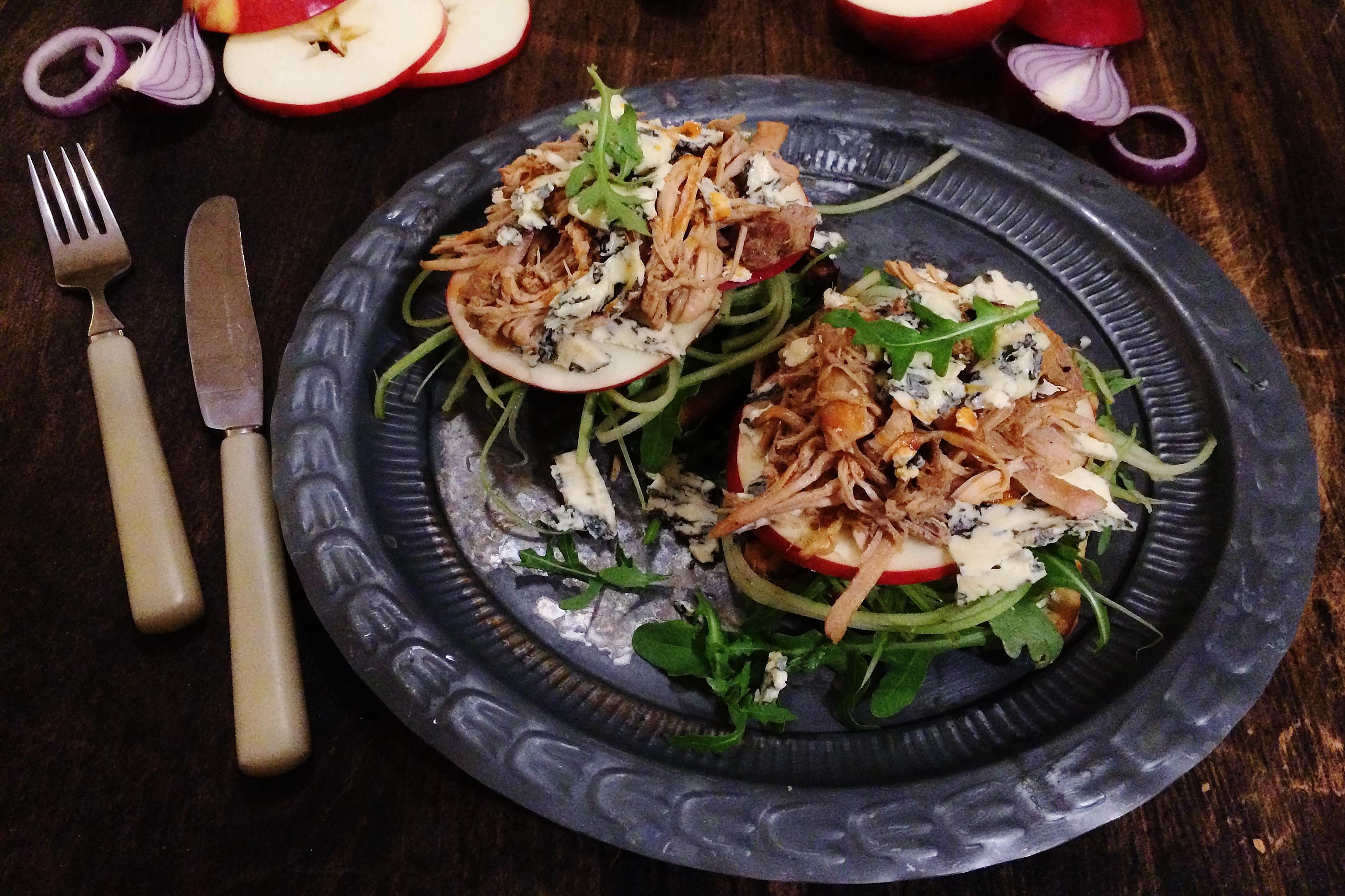 Pulled Pork Sandwich with Blue Cheese & Apple