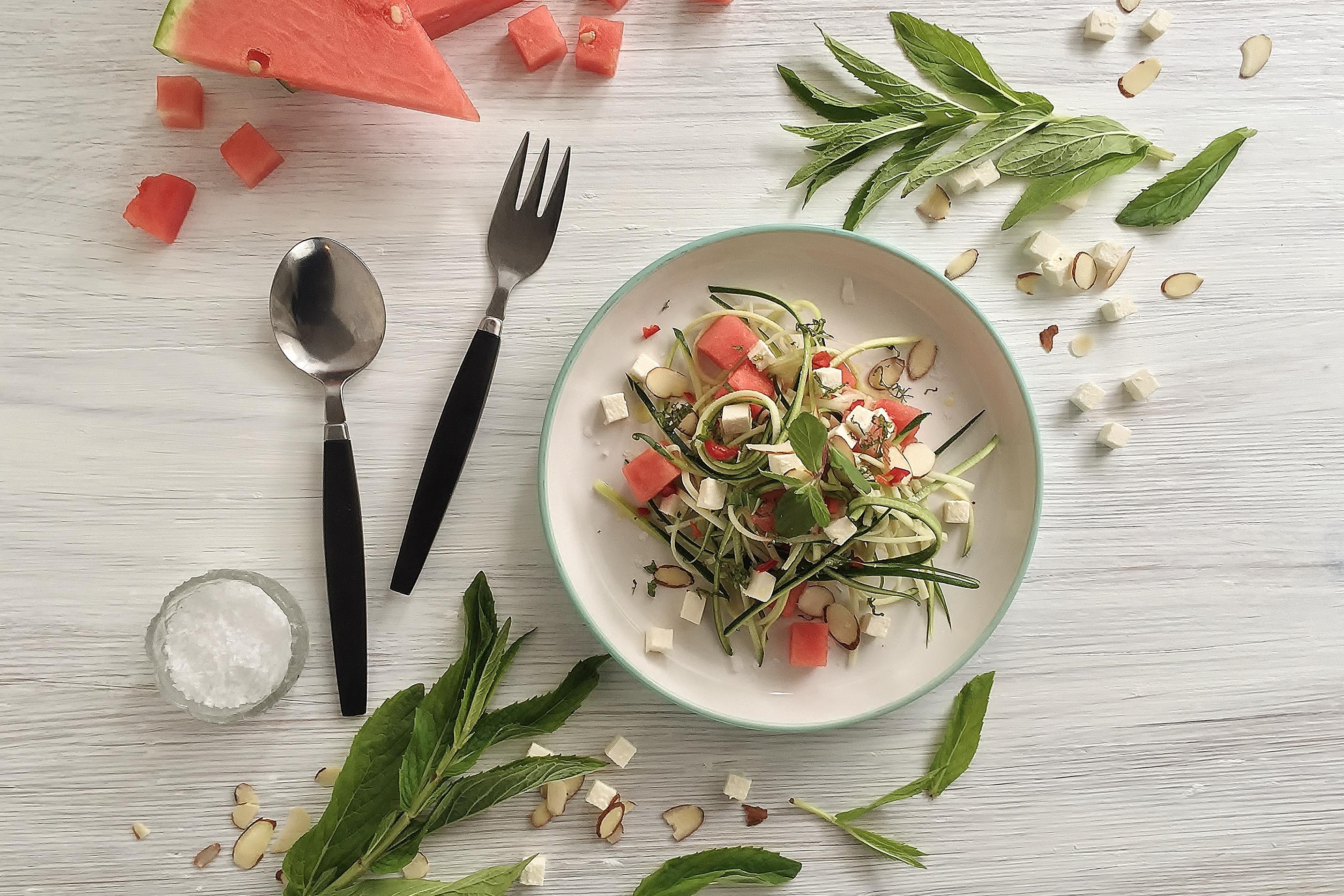 Summer Salad with Watermelon, Squash & Feta