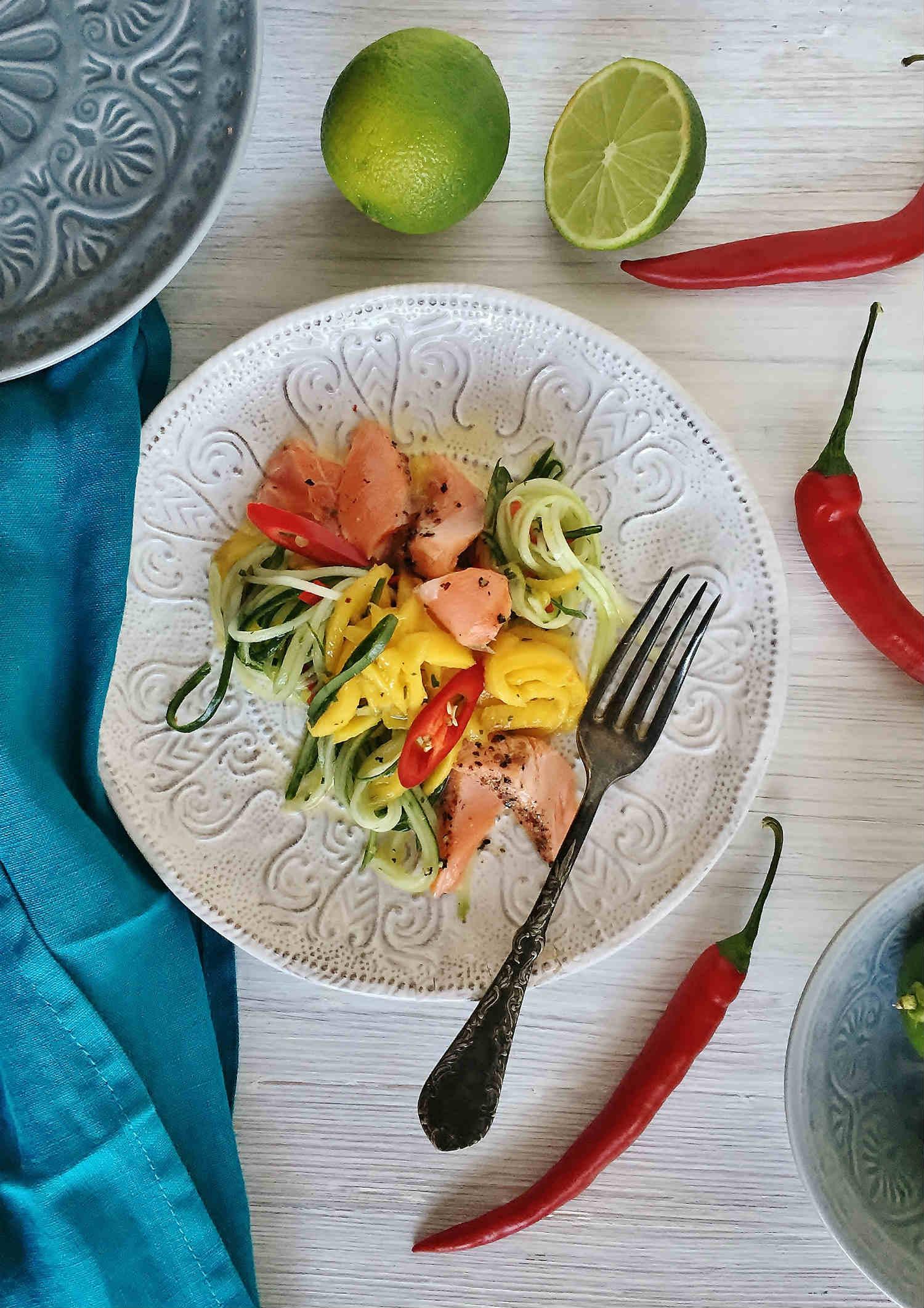 Poached Salmon & Cucumber-Mango Salad